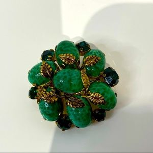 Vintage Malachite and Crystal brooch